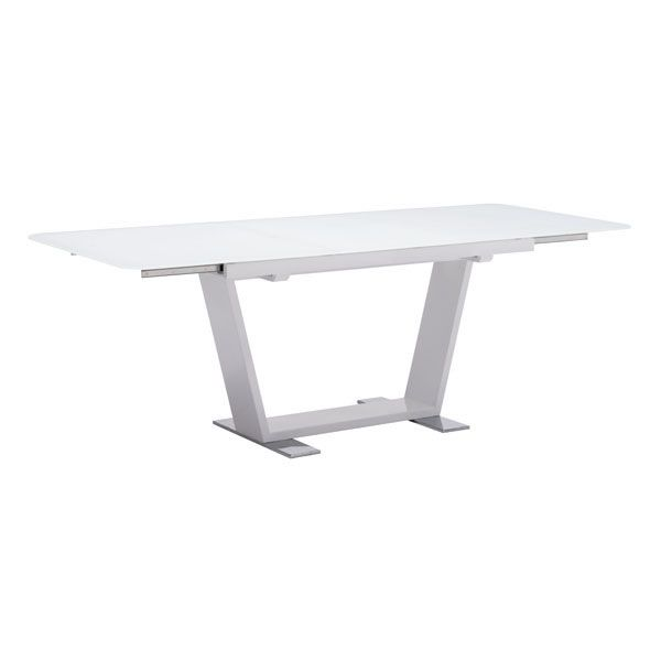 Painted Tempered Glass, Painted & Chromed Steel. W63~86.6 x D35.4 x H30 Dining table