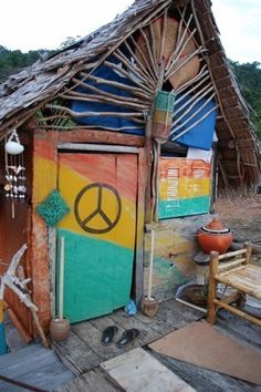 boho beach hut--peace, love, and beach.
