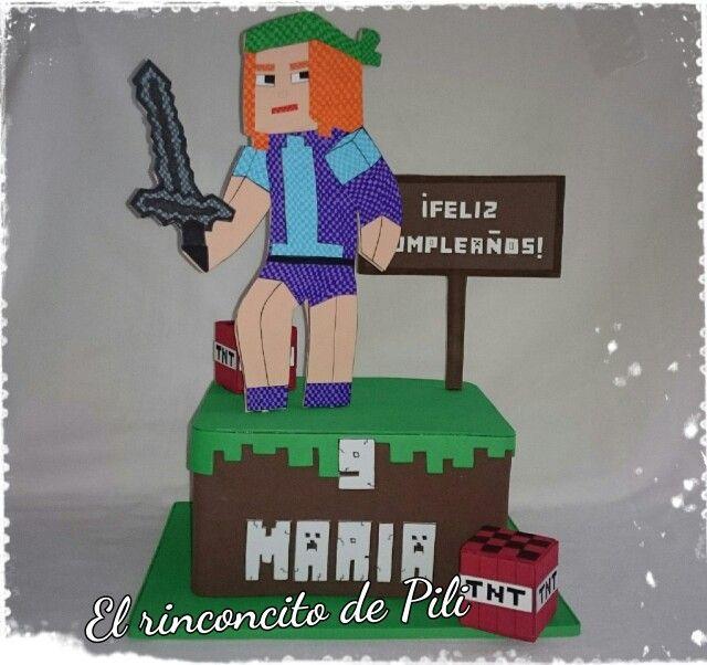 Centro de mesa Minecraft  #fiestacumpleaños