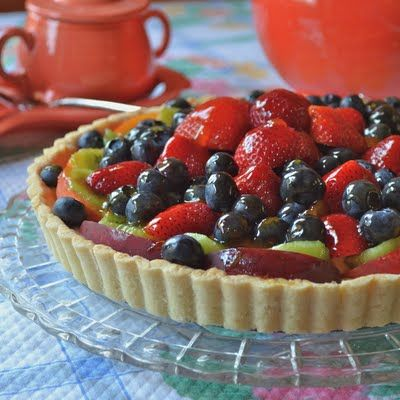 Summer Fruit Tart with custard filling and apricot glaze