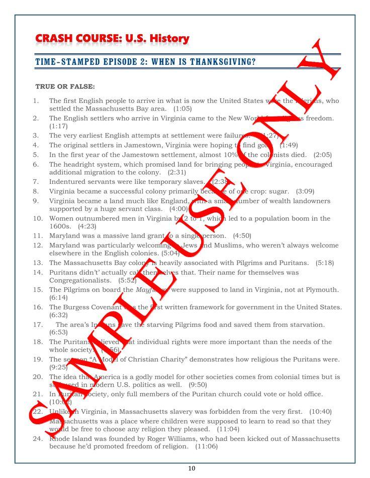 Crash Course US History Worksheets Episodes 15 – History Worksheets