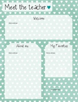 Meet the teacher the teacher and templates on pinterest for Free meet the teacher template
