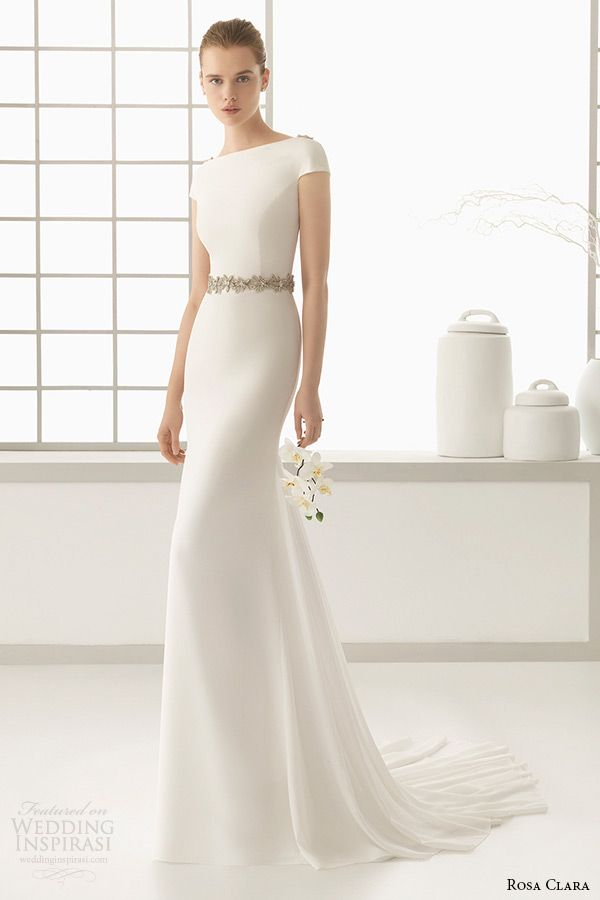 rosa clara 2016 bridal collection bateau neckline short sleeves clean simple white sheath wedding dress denise full. 1000+1 Creative Ways to Add Color to Your Wedding! View more wedding ideas: http://www.homeboutiquecraft.com