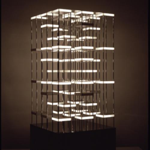 Lights turn on and off in Gregorio Vardanega's skyscraper-like Tour Orthogonale.