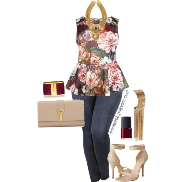 Plus Size - Peplum & Jeans by alexawebb on Polyvore featuring Pour La Victoire, Yves Saint Laurent, Chloé, Auden, Tory Burch, NARS Cosmetics, outfit, plus, plussize and size