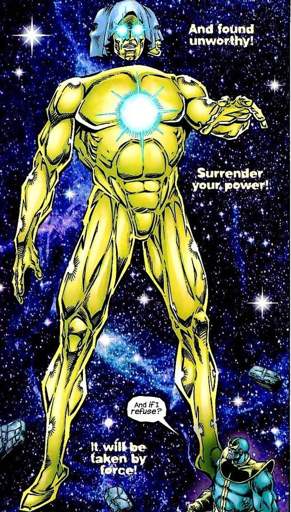 THE LIVING TRIBUNAL... only Marvel character that can make Thanos (with all of the infinity gems at that) look like a little mouse.
