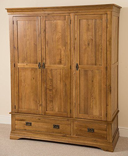 French Solid Oak Triple Door Wardrobe with Drawers + Rustic Finish + Hand Built by Expert Craftsmen + Bedroom Furniture (161 x 58 x 190 cm) - New and Used Oak Furniture at great prices