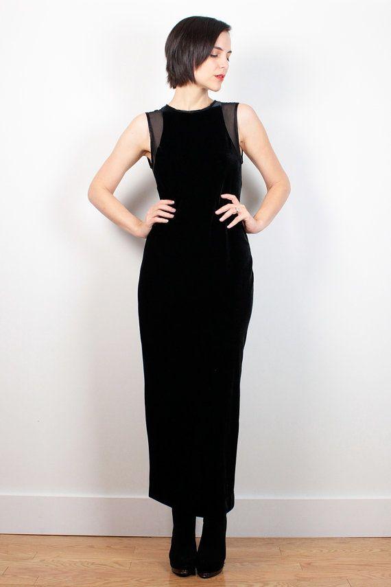 Vintage 90s Dress Black Velvet Dress Sheer Mesh Backless Dress Maxi Dress Soft Goth Dress 1990s Dress Velvet Gown Morticia M Medium L Large by ShopTwitchVintage #1990s #90s #soft #goth #grunge #velvet #sheer #mesh #backless #maxi #dress #etsy #vintage