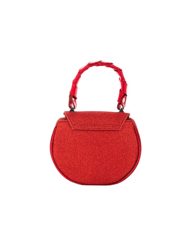 SALAR Red leather handbag with glitter with twisted leather handle removable leather shoulder strap  star on the front flap inner lining turn lock on the front flap Size: 18x16x6 cm 100% Lambskin