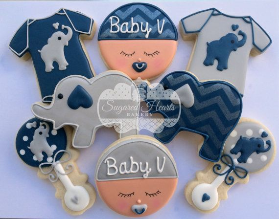 Elephant Baby Shower Cookies Navy Blue and Gray Chevron