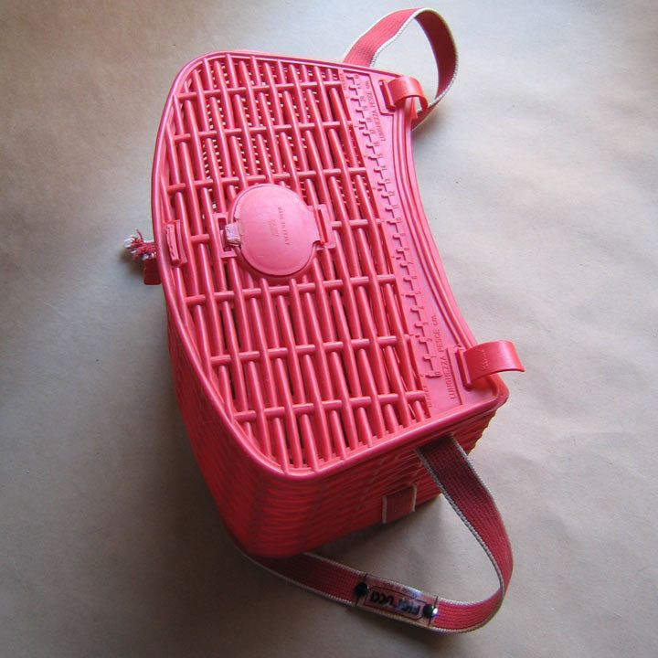 Vintage Fiorucci Red Plastic Fishing Creel Basket Bag Traditional Woven Wicker Style - styleagency