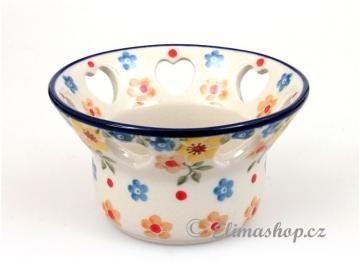 "Candelholder with hearts. This Traditional Handmade Polish Pottery is from ELIMAshop.cz . It was handpainted in Boleslawiec . Bunzlau . ceramics . stoneware . ( svícen na čaj. svíčku ""srdíčka"" ) *** ELIMAshop.cz ***"