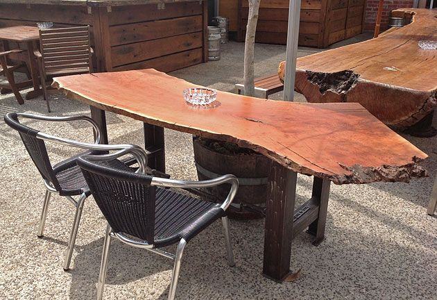 Redgum slab table redgum iron north geelong forms for Outdoor furniture geelong