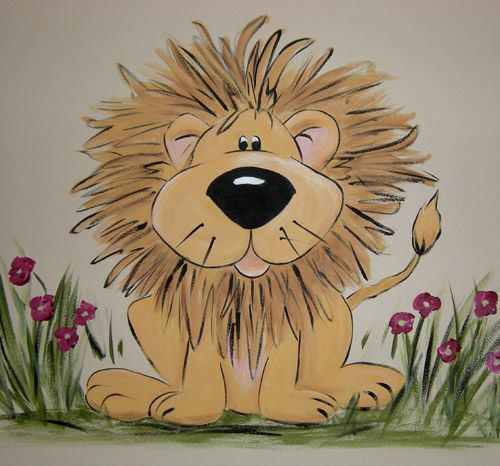NoJo Lion Mural | Cartoon Lions for Nursery | No Jo