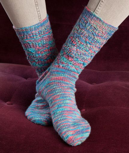 Free Knitting Patterns For Lace Yarn : Colorful Lace Socks Free Knitting Pattern in Red Heart Yarns - You ll love kn...