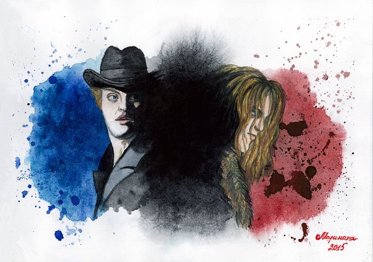 """My new art after Ivan Ozhogin's premiere in """"Jekyll & Hyde"""".  """"Rorschach test for Dr. Jekyll"""". Watercolor, watercolor pencils, A4.  The Rorschach test is a psychological test in which subjects' perceptions of inkblots are recorded and then analyzed using psychological interpretation, complex algorithms, or both."""