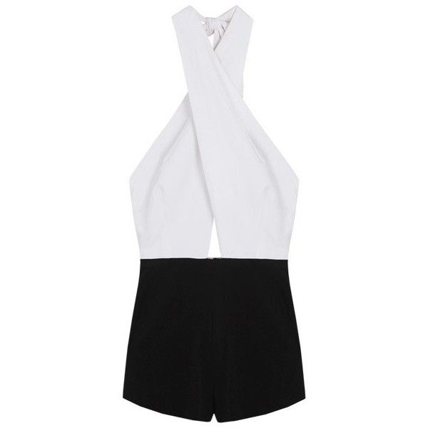 LUCLUC Black and White Halter Jumpsuits (205 RON) ❤ liked on Polyvore featuring jumpsuits, jump suit, black and white jumpsuit, black and white jumpsuits and rompers, halter neck jumpsuit and halter jumpsuit