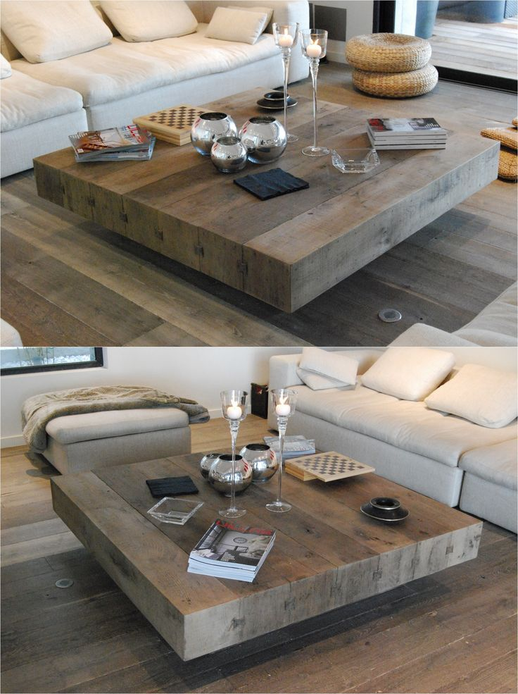 BONHEUR wooden handmade square coffee table by Didier Cabuy (Diy Furniture Simple)