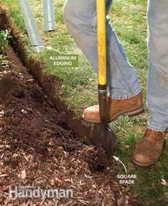 "How to Install Metal Edging - (1) Dig the trench: ALWAYS call your local utilities company before you start to dig! Cut a narrow, 4"" deep trench with one vertical side along the lawn edge. Shave the vertical edge to smooth out curves. Follow a string line for straight edges."