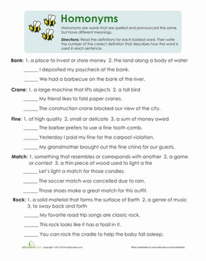 This multiple meaning words worksheet uses context clues to help kids make sense…