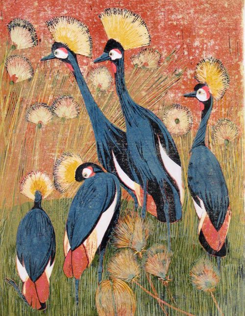 Pauline S. Hall (1918 -2007): Crowned Cranes, linocut
