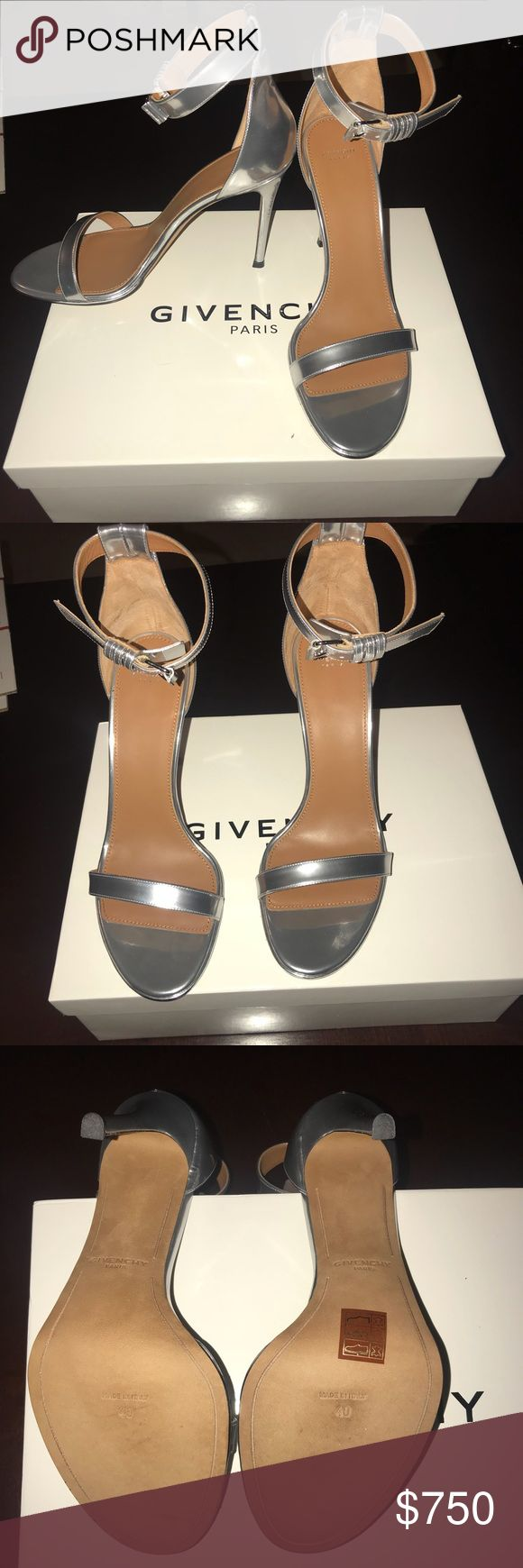 Givenchy Metallic Silver Ankle Strap Heel Sandals BNWT Metallic Silver high heeled sandals.  Brand new with original box Givenchy Shoes Heels