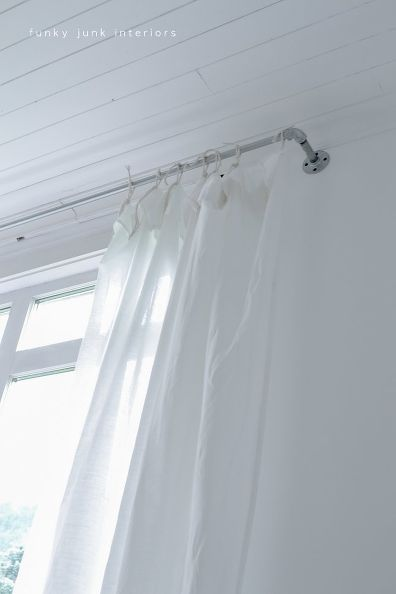 Make CHEAP cheap sheet curtains with pipe curtain rods - with VIDEO