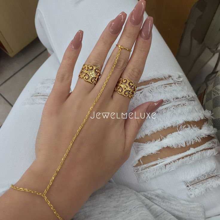 18K Gold Plated hand chain. Lobster Clasp. Rings sold separately.
