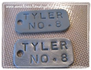 Fondant Tutorial: Painting with shimmer dust on Fondant ~ Army Dog Tags