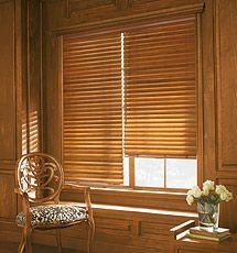 White Blinds With Dark Wood Trim