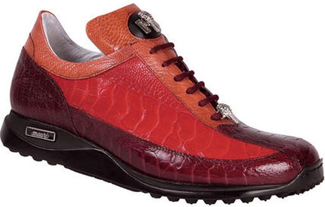"""Mauri """"Legion"""" 8848 Ruby Red / Red / Canyon Genuine All-Over Ostrich Sneakers With Gold Mauri Alligator Head"""