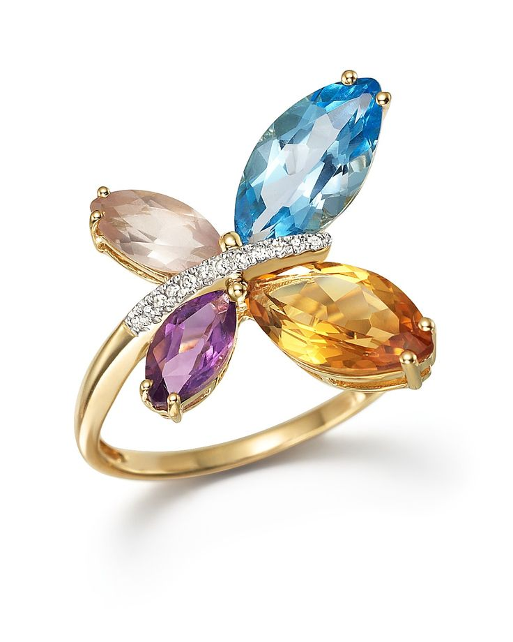 Multi Gemstone and Diamond Butterfly Statement Ring in 14K Yellow Gold