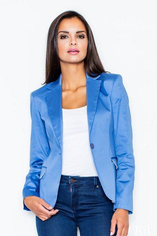 Zapinany niebieski żakiet damski