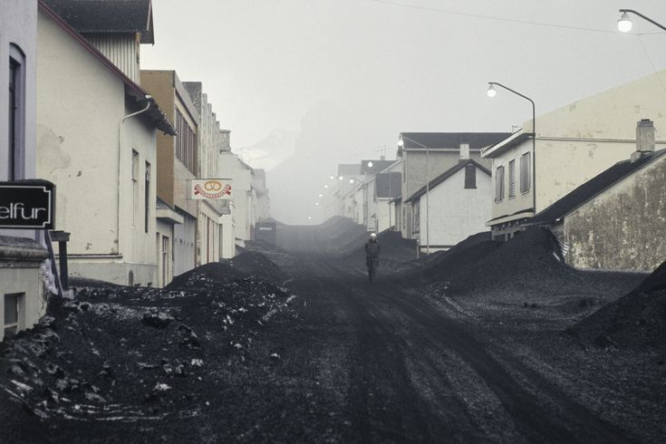 Buried town streets after the eruption of Eldfell volcano on the island of Heimaey.