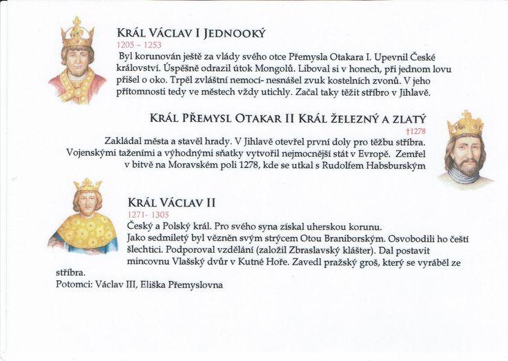 Přemyslovští králové 2/3 (Kartičky o Historii - Doporučuji zafoliovat a pak chronologicky ukládat do pořadače)