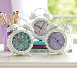 Turquoise & Lavender Retro Clocks, Lavender Pin Dot | Pottery Barn Kids