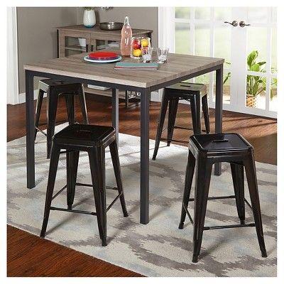Barletta Counter Height Table Set Black/Gray/Black 5 Piece - Tms