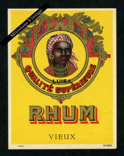 Vintage-Label-Lithograph-Early-1900s-Liquor-RHUM-VIEUX-Alcohol-Wine-Liqueur
