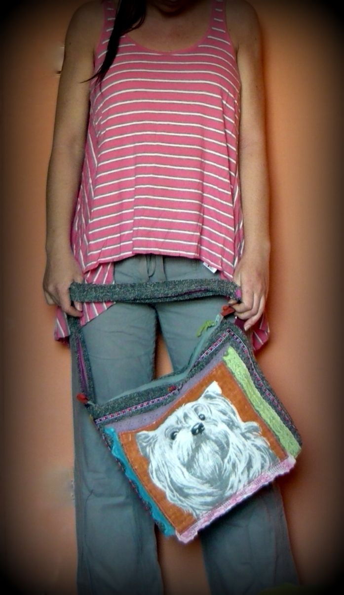 Handmade by Judy Majoros - Multi colour dog crossbody bag. Crochet bag. Recycled bag