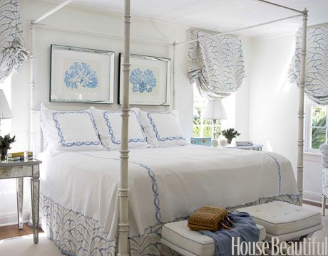 Talavera fabric by Brunschwig & Fils--is used throughout the master bedroom, and that helps create a sense of serenity Design: Meg Braff. #curtains