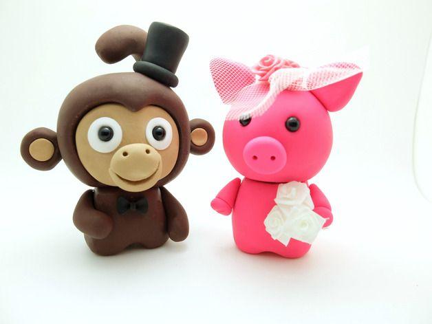 Hochzeitsdeko - Lustige Hochzeit-Tortenfiguren Affen Brautpaar - ein Designerstück von zwergschmuck bei DaWanda