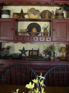 Primitive Cabinet For Dining Room Kitchen Decor