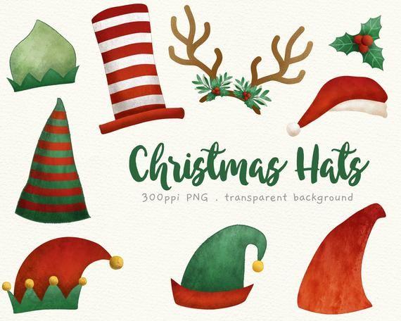 Christmas Hats Clip Art Head Decoration Santa Hat Elves Etsy Christmas Hat Christmas Gnome Clip Art