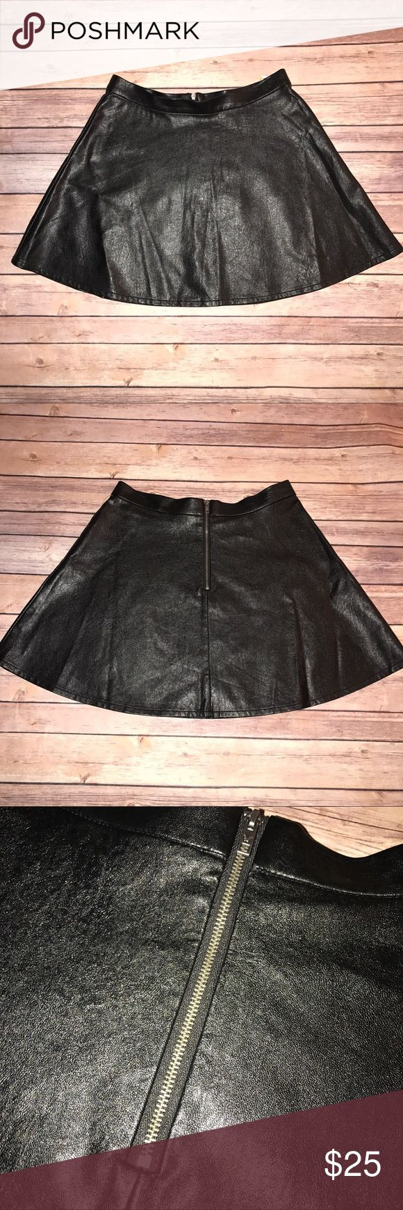 American Eagle Outfitters Leather Skater Skirt Faux leather, black. New without tags. American Eagle Outfitters Skirts Circle & Skater