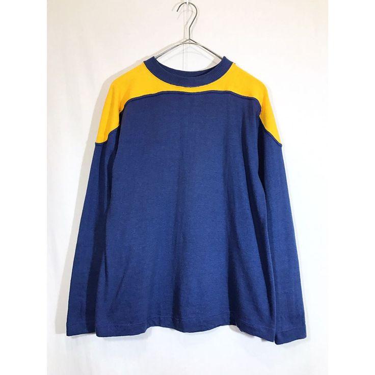 いいね!11件、コメント1件 ― came unto meさん(@cameuntome)のInstagramアカウント: 「old cotton two tone longsleeve Tshirt  オールドのロングスリーブコットンフットボールTシャツ ネイビーベースにイエローが程よく効いたこのツートーン、可愛いです。…」