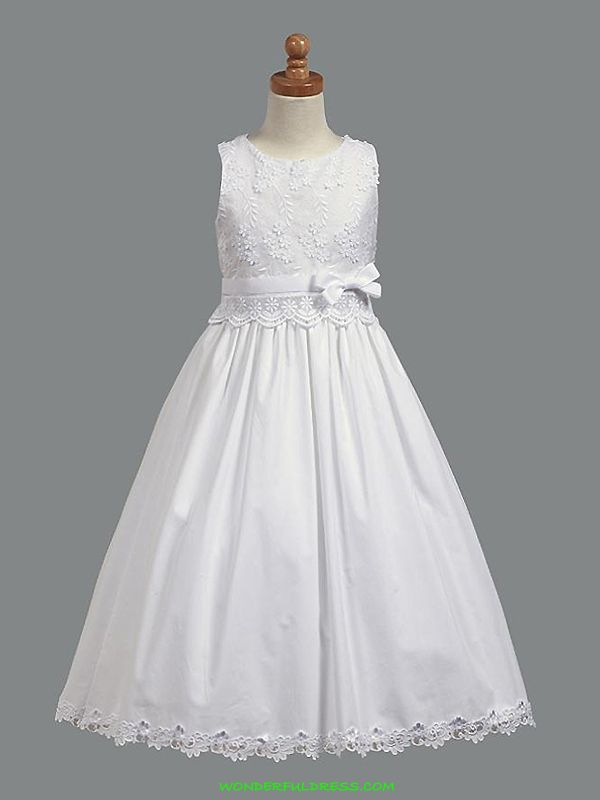 White Embroidered Cotton First Communion Dress