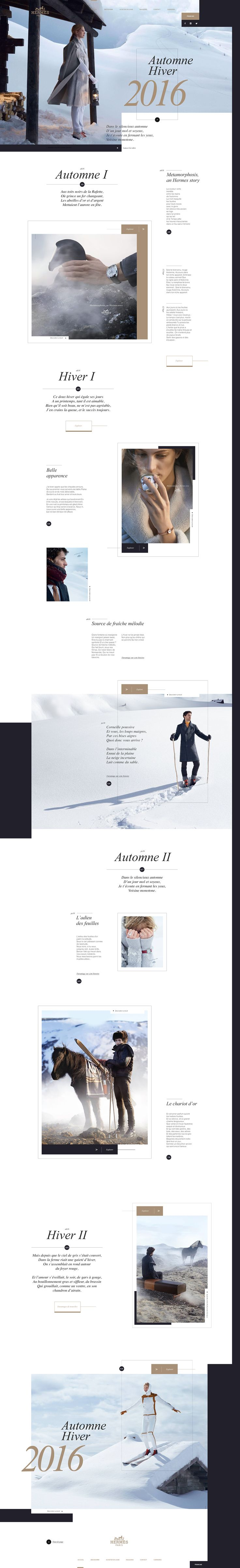 """Hermès. Great brand. I recently visited their website and quickly found out it would be an interesting challenge for a concept.My process was a """"no-process"""", follow-your-guts-and-explore, even if it meant drifting away from their graphic world and lov…"""