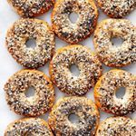 I baked everything bagels and topped them with a mix of sesame & poppy seeds, garlic & onion flakes and salt. My 4-year old polished off 3 bagels at breakfast! Search 'homemade bagels' on lastingredient.com for the recipe.