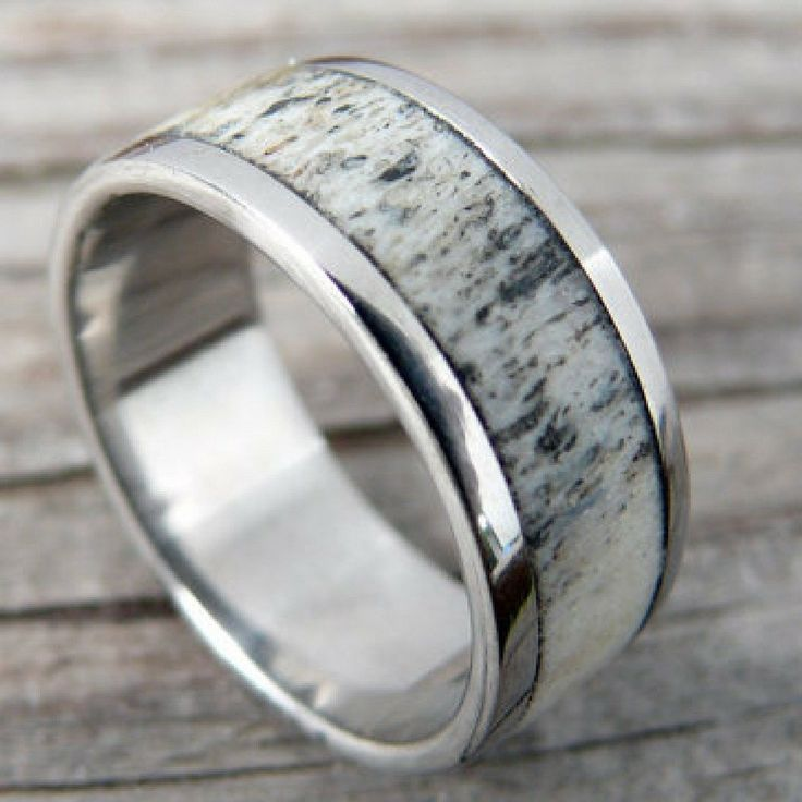 Handcrafted Silver TITANIUM DEER ANTLER WEDDING RING. MENS DEER ANTLER RING Has Been Made With Genuine DEER ANTLERS. A Wedding Ring That Truly Is Unique.