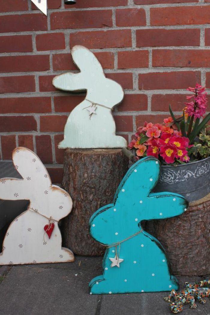 Aussen Fur Holzhandwerk Osterhasendekoration Ostern Von Osterhasen Dekoration Wooden Easter Decorations Easter Decorations Easter Bunny Decorations